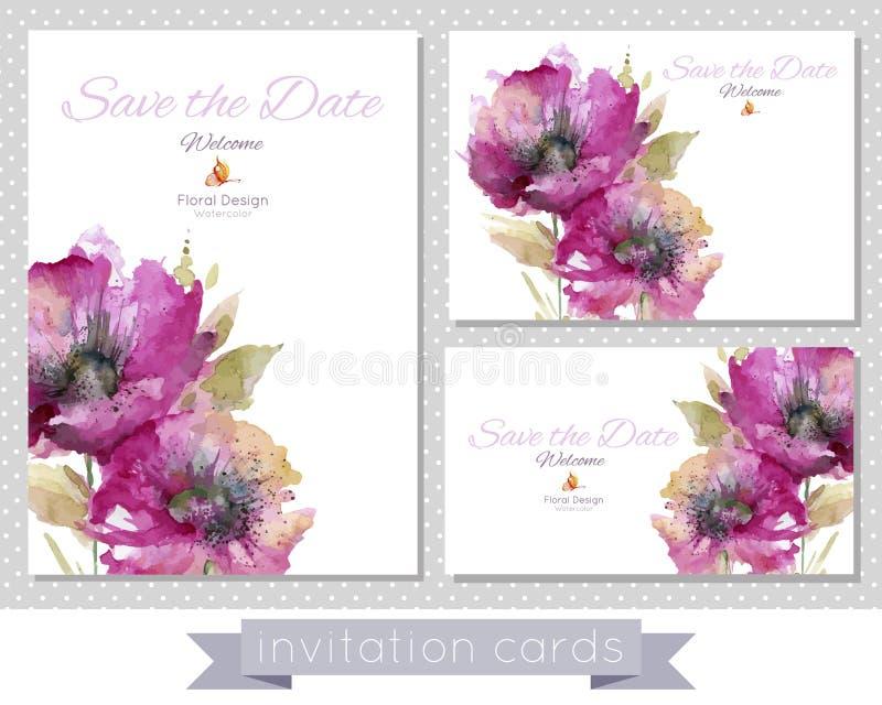 Комплект карточек с розовыми маками иллюстрация вектора