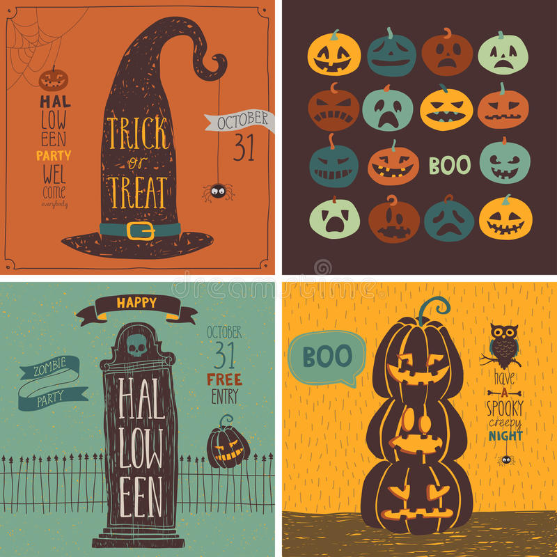 Комплект карточек хеллоуина - рука нарисованный стиль иллюстрация штока