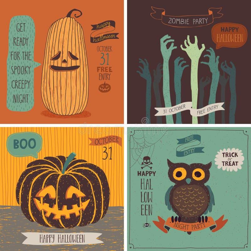 Комплект карточек хеллоуина - рука нарисованный стиль иллюстрация вектора