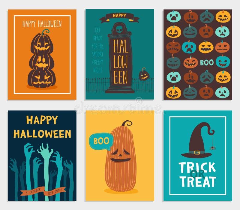 Комплект карточек хеллоуина бесплатная иллюстрация