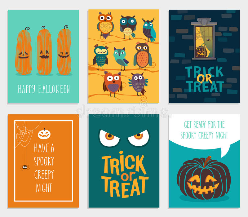 Комплект карточек хеллоуина иллюстрация штока