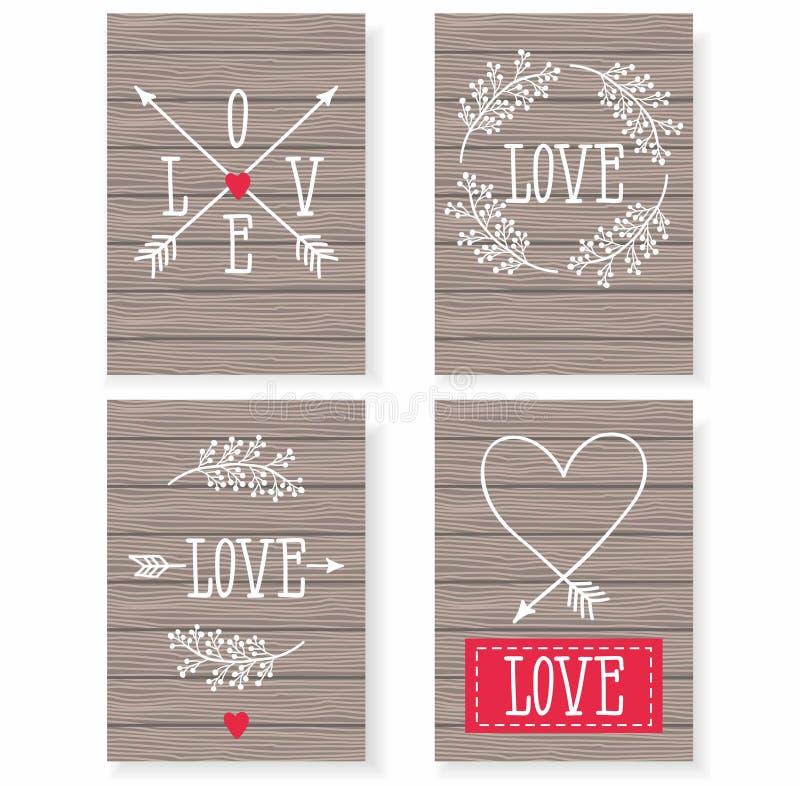 Комплект карточек для вашего дизайна Любовь Карточки на праздник связанный вектор Валентайн иллюстрации s 2 сердец дня иллюстрация штока