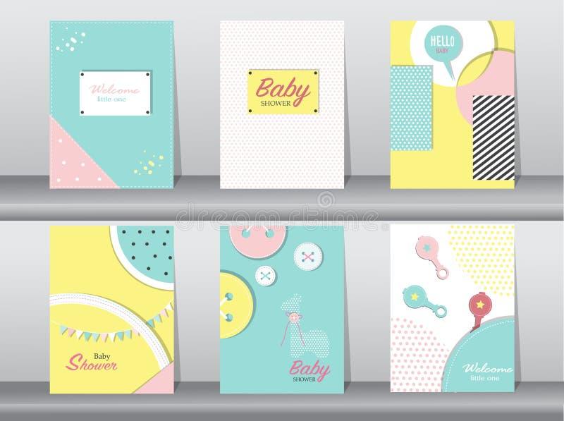 Комплект карточки детского душа на ретро дизайне картины, годе сбора винограда, плакате, шаблоне, приветствии, иллюстрациях векто бесплатная иллюстрация