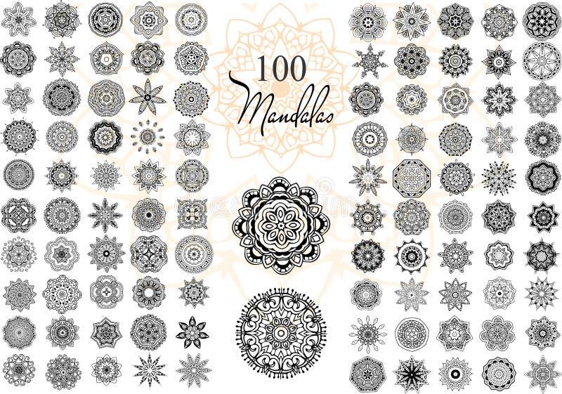 Комплект карточки мандалы иллюстрация штока