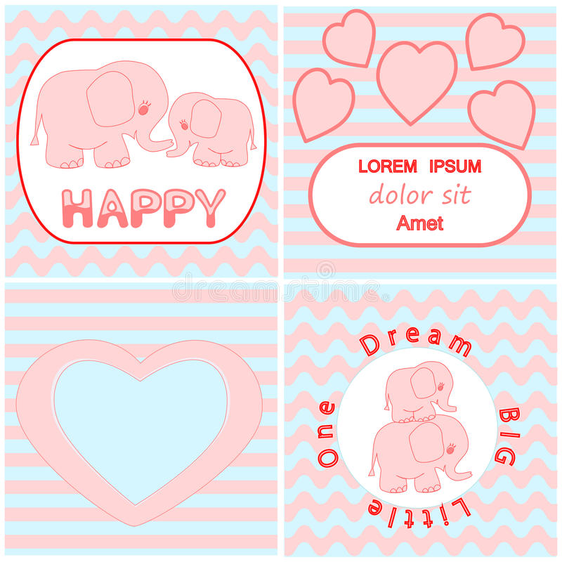 Комплект карточки приглашения детского душа включая карточку слона младенца пинка шаржа, сердце и волнистые карточки предпосылки  бесплатная иллюстрация