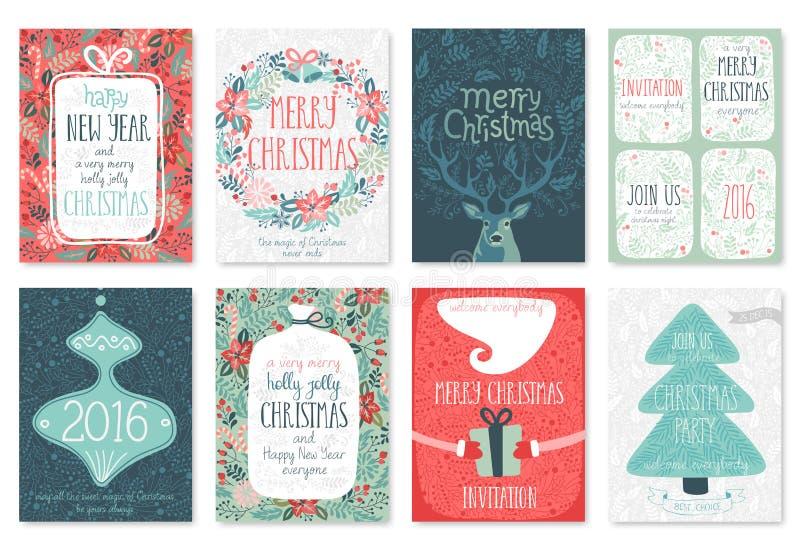 Комплект карточки рождества нарисованный рукой иллюстрация вектора