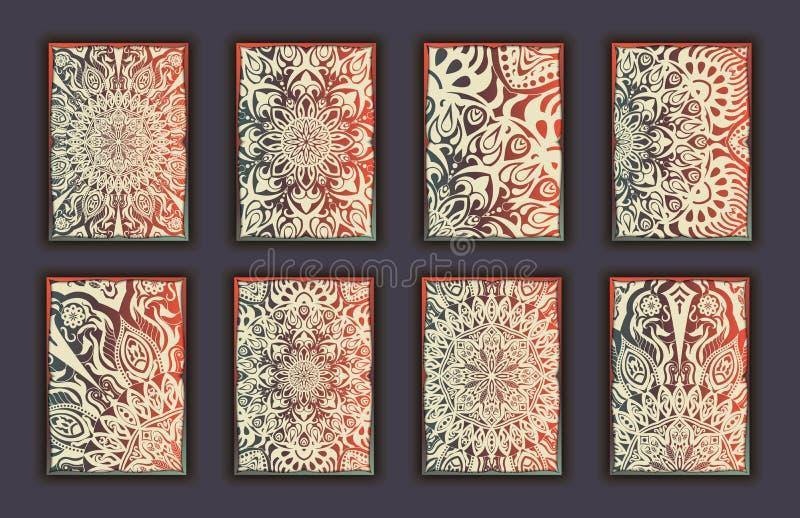 Комплект карточки с предпосылкой элементов мандалы флористического шнурка декоративной Азиатские индийские восточные богато украш иллюстрация вектора