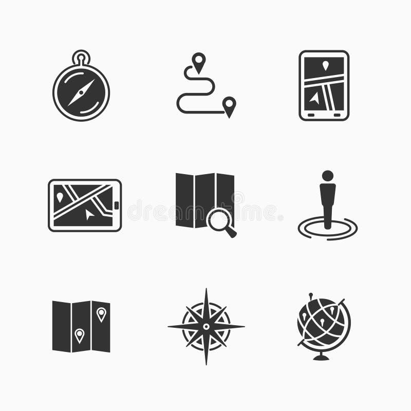 комплект карты икон иллюстрация штока