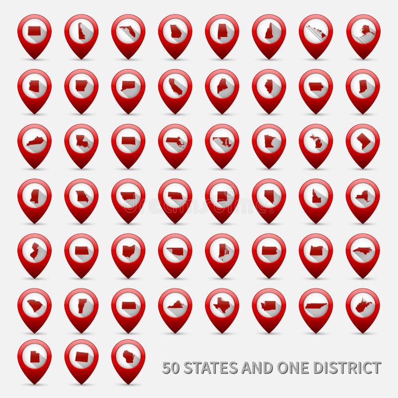 Комплект карт штатов США Объединенная Америка 50 и 1 иллюстрация штока
