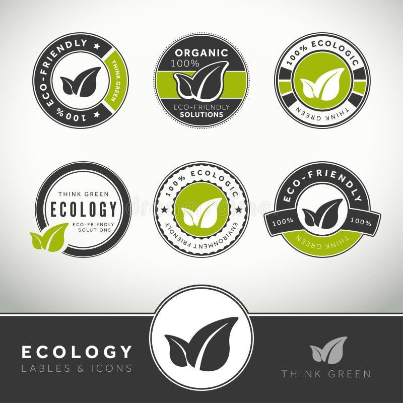 Комплект качества ярлыков и значков экологичности иллюстрация вектора