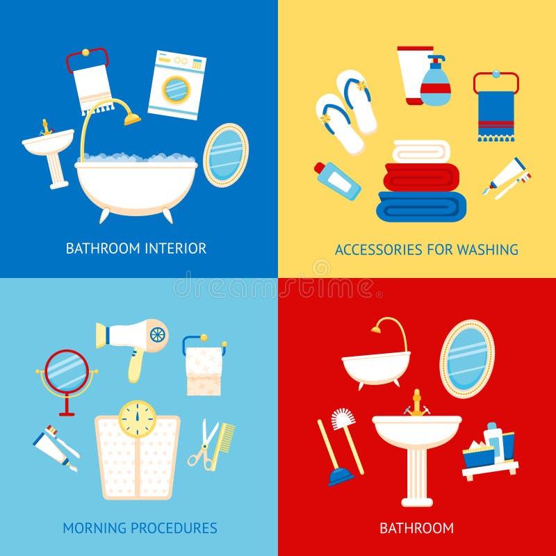 Комплект квартиры ванной комнаты иллюстрация вектора