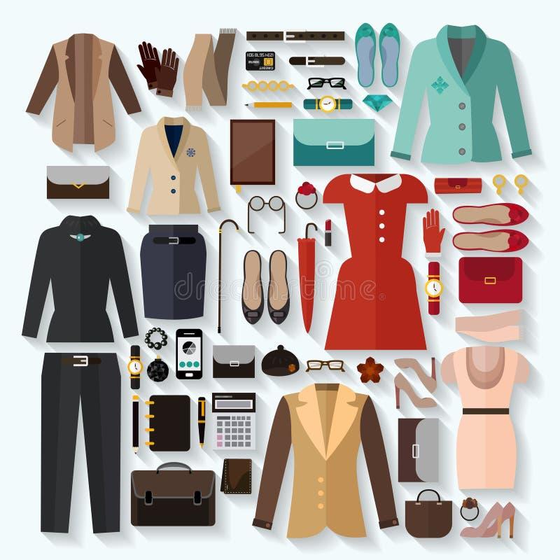 Комплект квартиры значков одежд модных женщин иллюстрация вектора