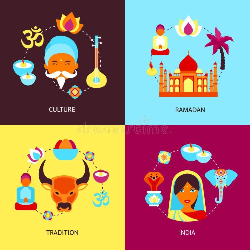 Комплект квартиры Индии иллюстрация штока