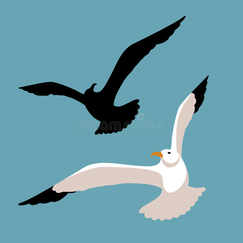 Комплект квартиры стиля иллюстрации вектора чайки бесплатная иллюстрация