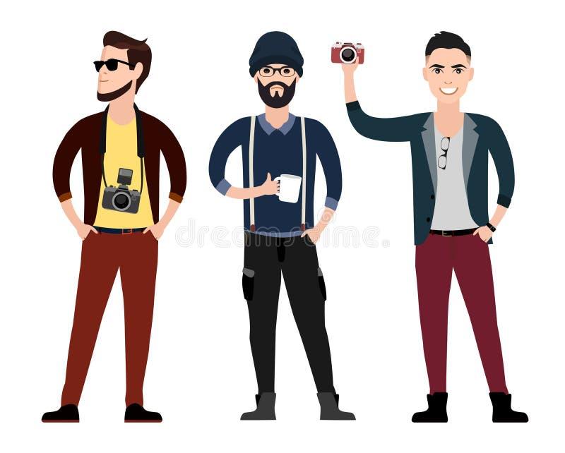 Комплект квартиры характера молодых человеков в различных представлениях бесплатная иллюстрация