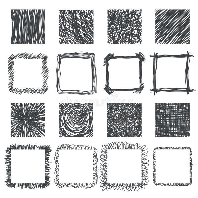 Комплект квадратов нарисованных рукой конструкция легкая редактирует элементы для того чтобы vector линии текстура иллюстрация вектора