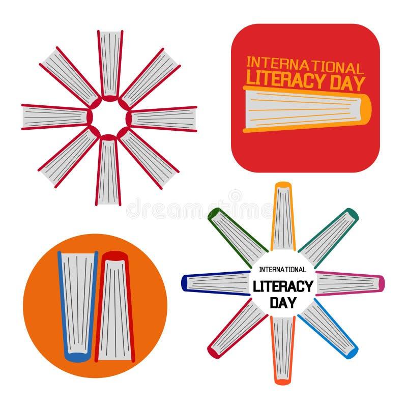 Комплект книги на международный день грамотности иллюстрация штока