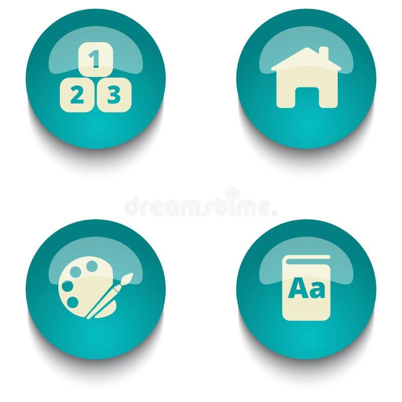 Комплект кнопки сети образования голубого зеленого цвета бесплатная иллюстрация