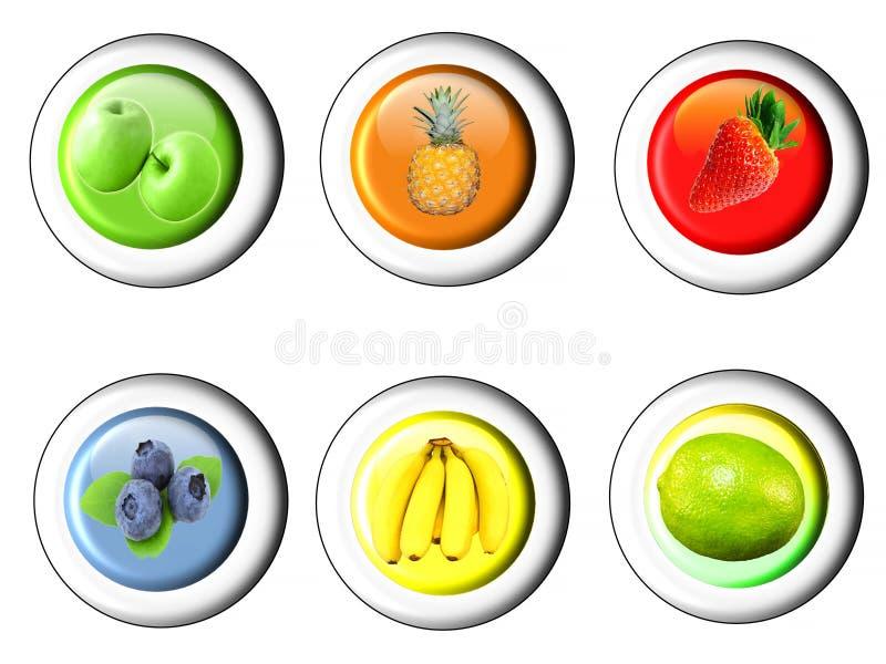 Комплект кнопки с значком плодоовощ иллюстрация вектора