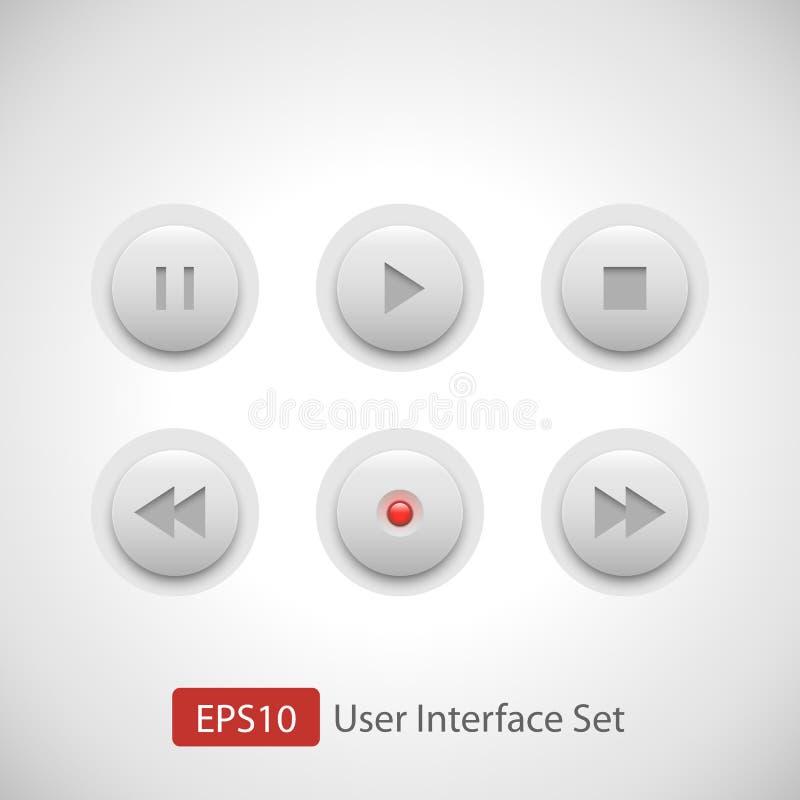 Комплект кнопки управлением мультимедиа бесплатная иллюстрация