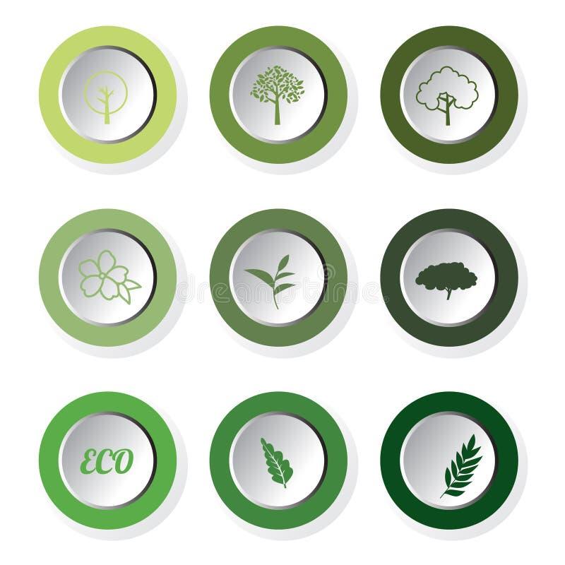 Комплект кнопок зеленых лист eco круглых, вектор иллюстрация штока