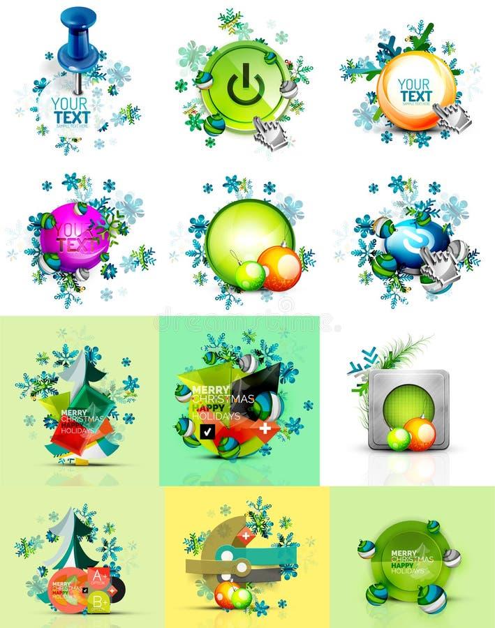 Комплект кнопок интернета, концепция рождества иллюстрация штока