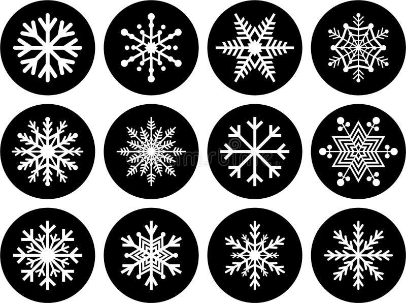 Комплект кнопок снежинки иллюстрация вектора