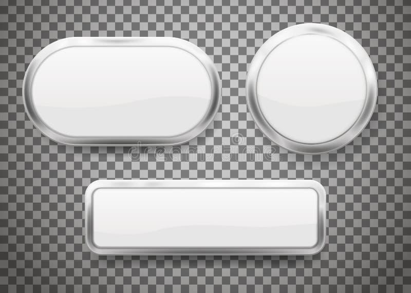 Комплект кнопок с рамкой хрома на прозрачной предпосылке также вектор иллюстрации притяжки corel иллюстрация вектора