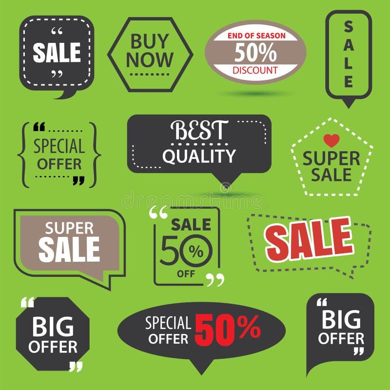 Комплект коммерчески стикеров продажи, значков элементов и ярлыков иллюстрация вектора