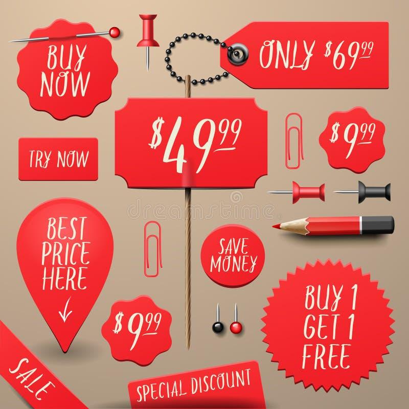 Комплект коммерчески стикеров продажи и скидки бесплатная иллюстрация