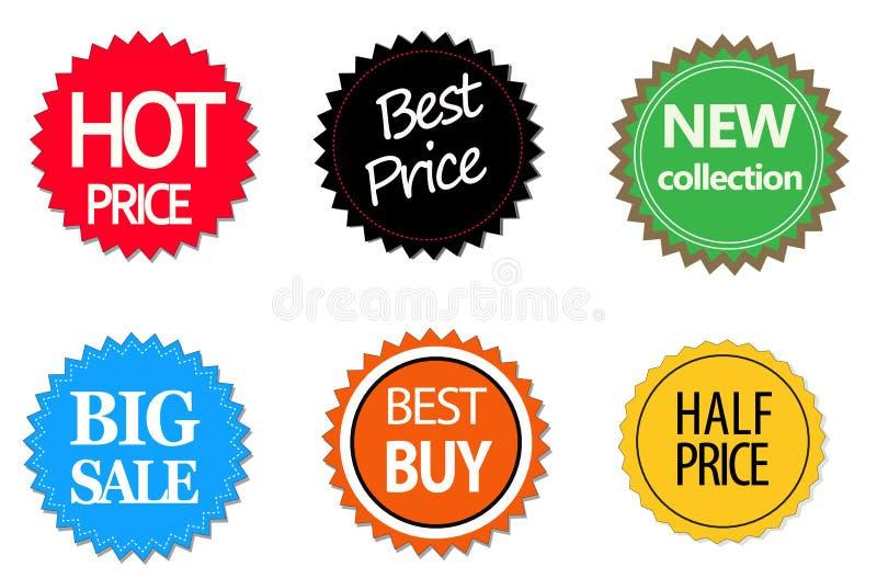 Комплект коммерчески стикеров, элементов и значков продажи иллюстрация штока