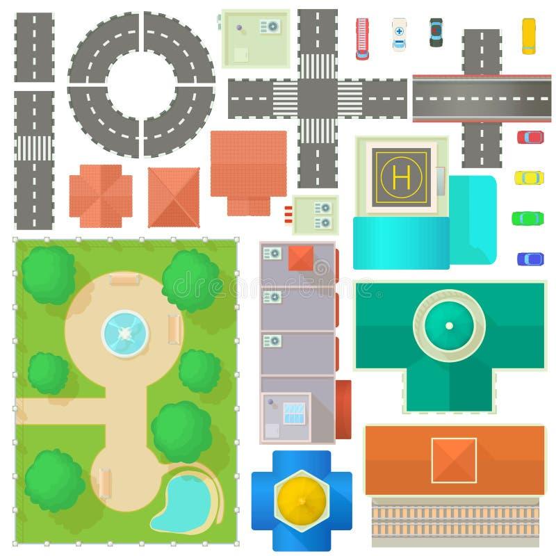Комплект конструктора карты города иллюстрация вектора