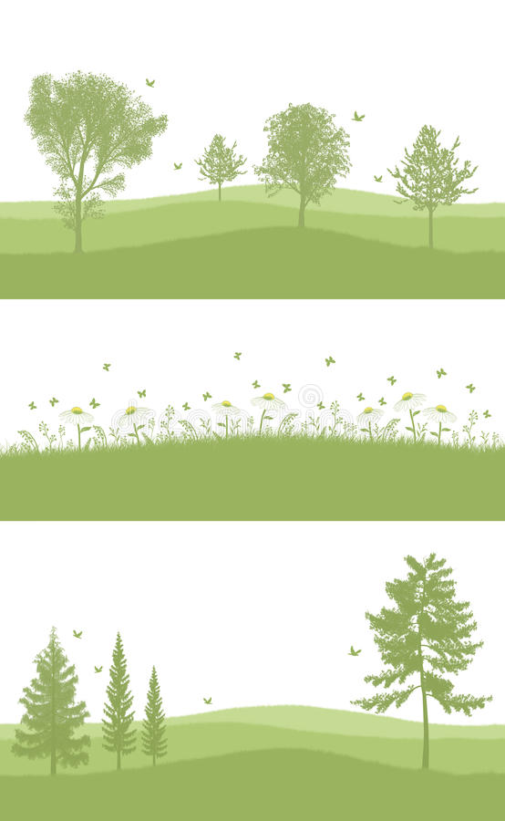 Зеленый цвет установленный для дна страницы A4 иллюстрация вектора