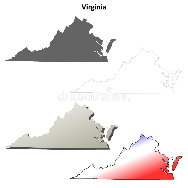 Комплект контурной карты Вирджинии иллюстрация вектора