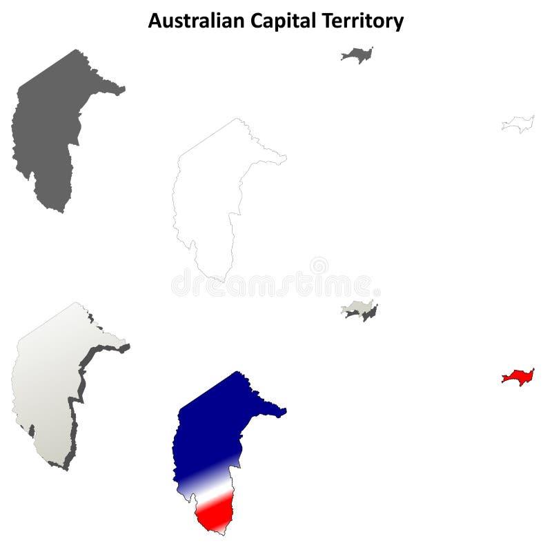 Комплект контурной карты территории австралийской столицы иллюстрация вектора