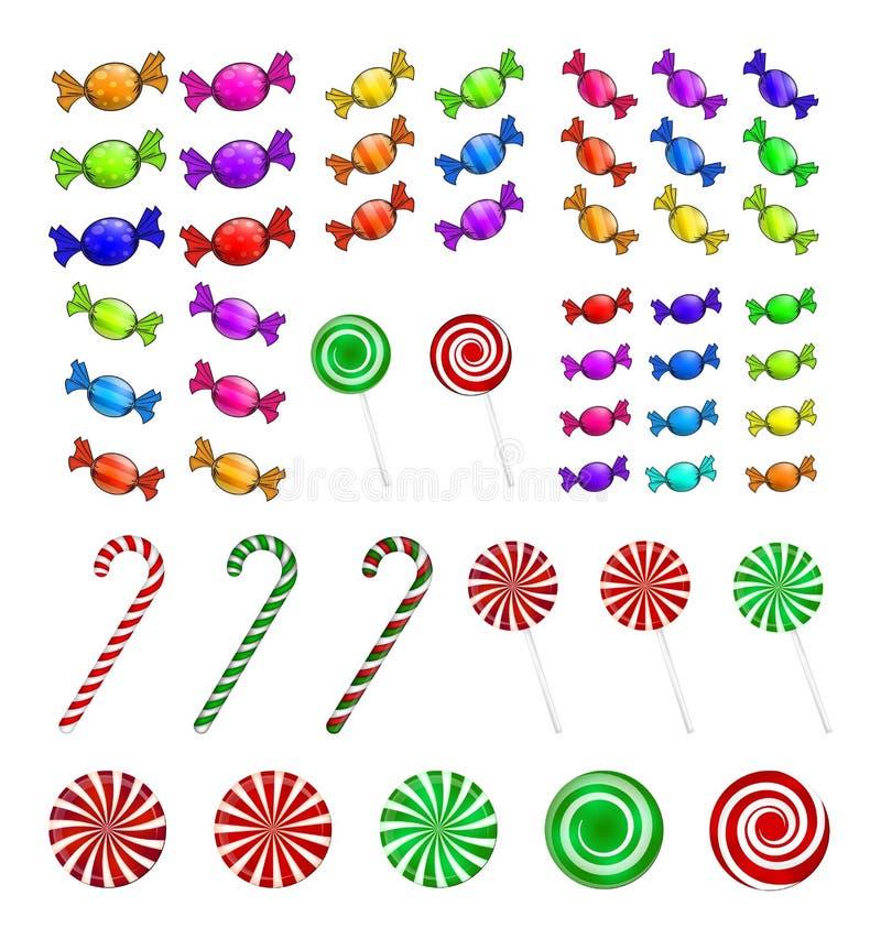 Комплект конфеты рождества Красочная обернутая помадка, леденец на палочке, тросточка Иллюстрация вектора изолированная на белой  иллюстрация штока