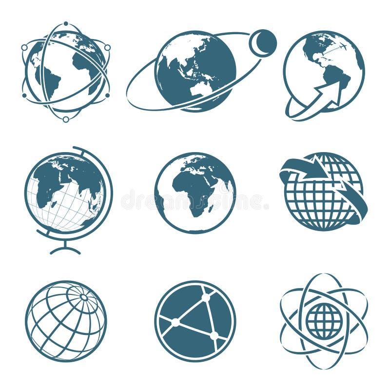 Комплект концепции глобальной связи земли значка Простой глобус иллюстрация вектора