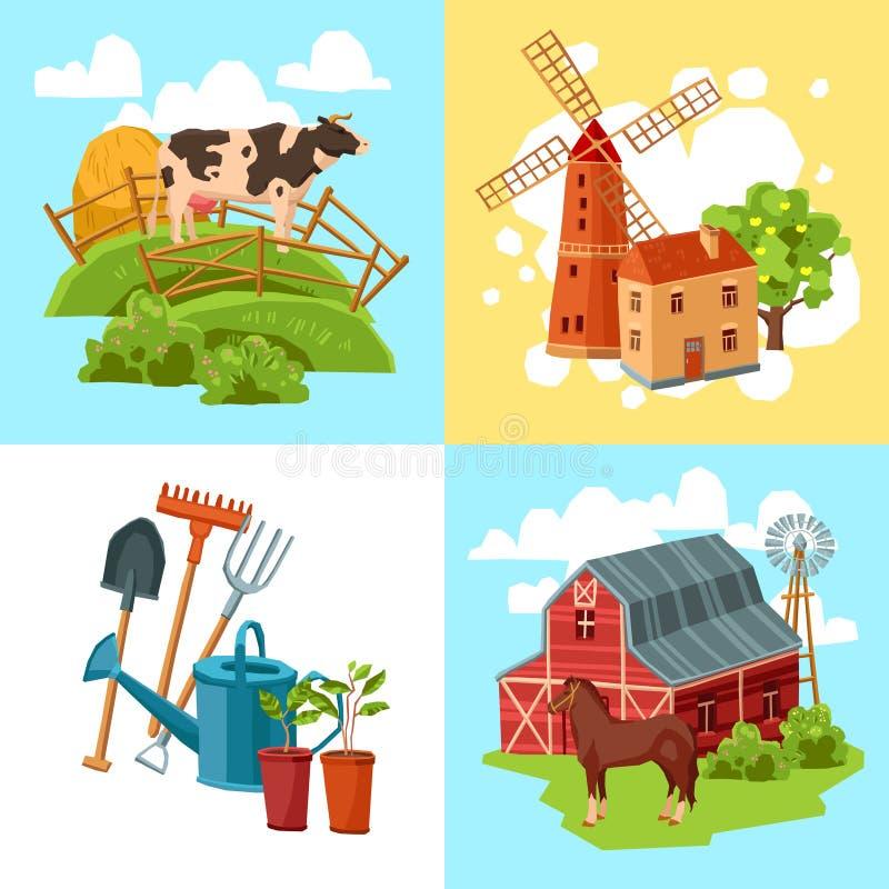 Комплект концепции дизайна фермы плоский бесплатная иллюстрация