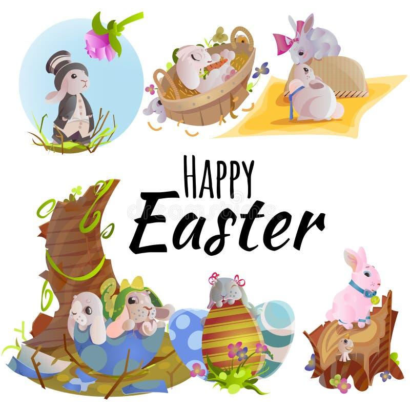 Комплект корзины зайчика охоты яичка шоколада пасхи на зеленой траве украсил цветки, уши кролика смешные, счастливый праздник вес иллюстрация вектора
