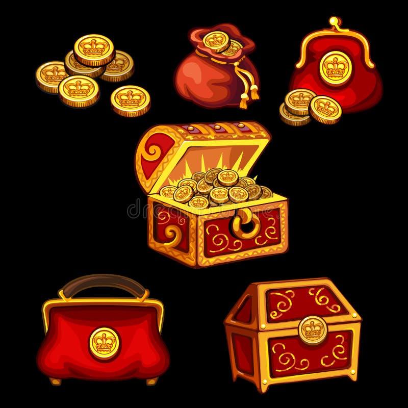 Комплект коробок, комодов, сумок и бумажников для денег иллюстрация вектора
