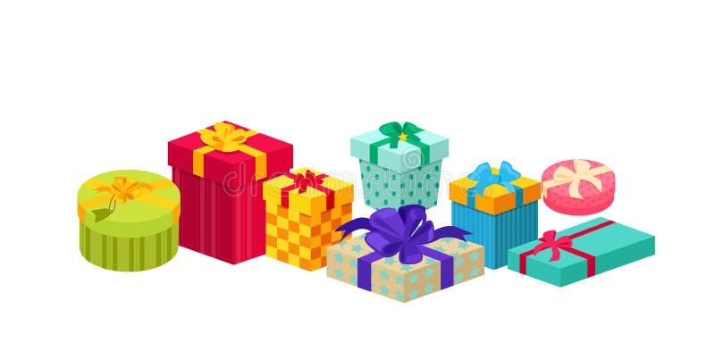Комплект коробок подарков конструирует плоско иллюстрация вектора