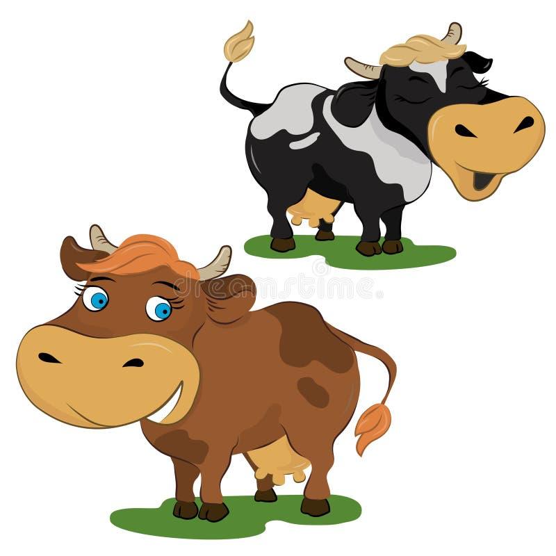 Комплект 2 коров шаржа иллюстрация штока