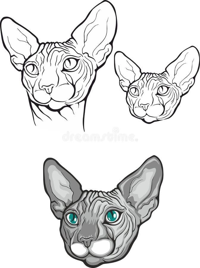 Комплект кота sphynx также вектор иллюстрации притяжки corel Тип татуировки иллюстрация вектора