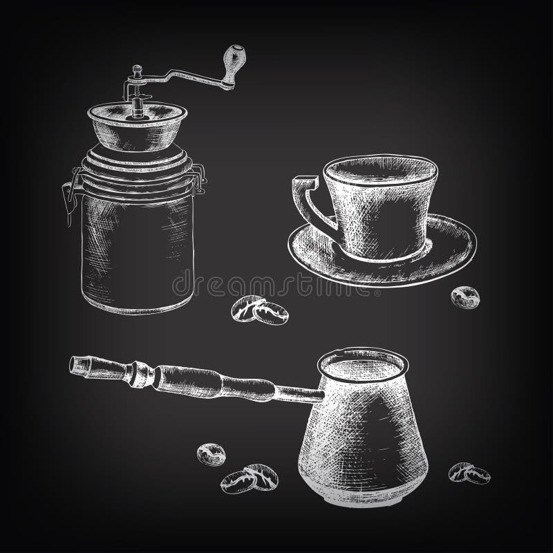 комплект кофе Рук-чертежа с кофейными зернами бесплатная иллюстрация