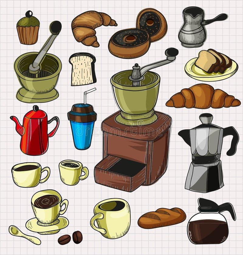 Комплект кофе Doodle иллюстрация вектора