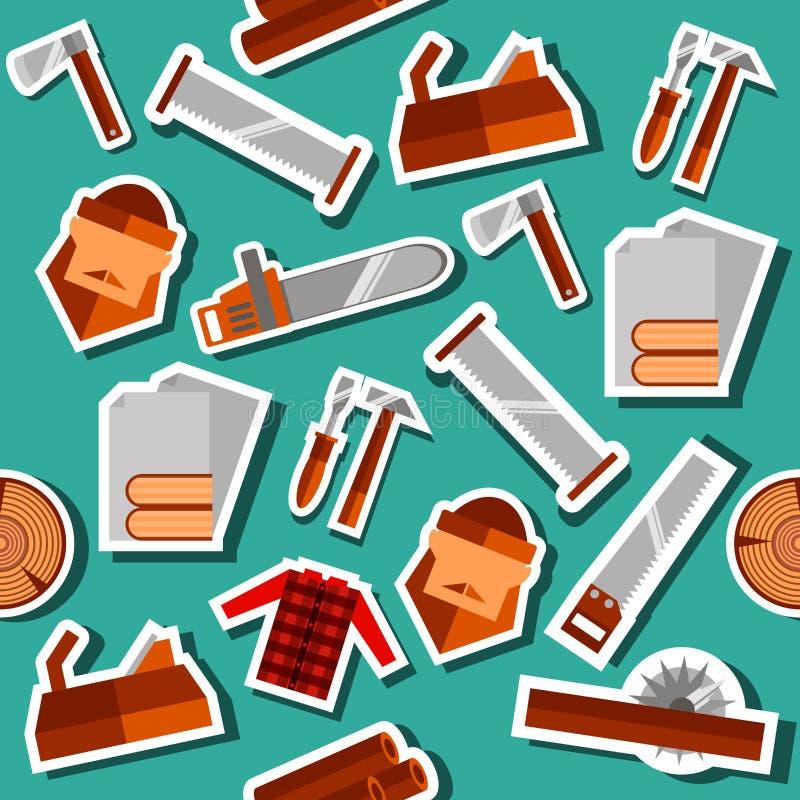 Комплект коллажа Lumberjack плоский бесплатная иллюстрация