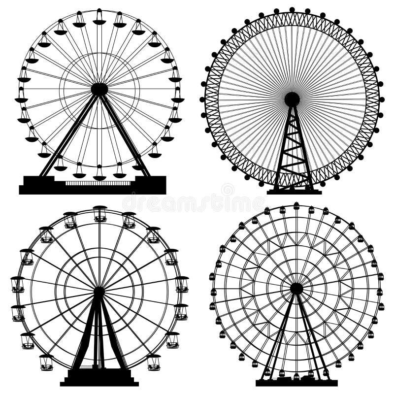 Комплект колеса Ferris силуэтов. иллюстрация вектора