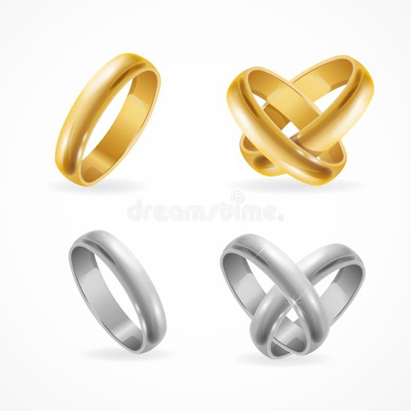 Комплект кольца золота и серебра свадьбы вектор иллюстрация вектора