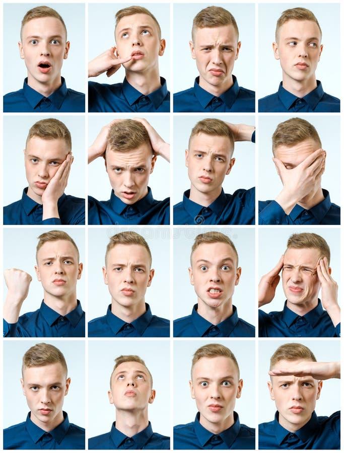 Комплект красивого эмоционального человека стоковые фото