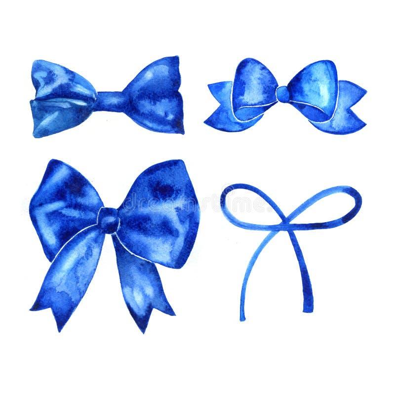 Комплект красивой нарисованных рукой лент акварели голубых иллюстрация вектора
